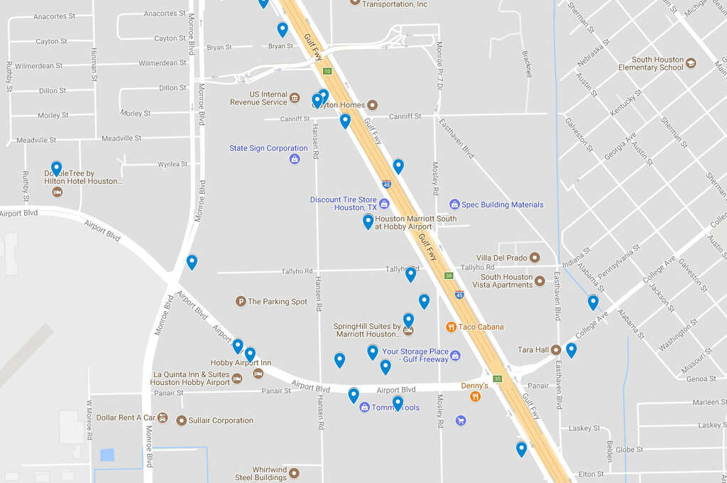 Hotels Where Prosution Related Arrests Were Made Around Hobby Airport In The Last Five Years