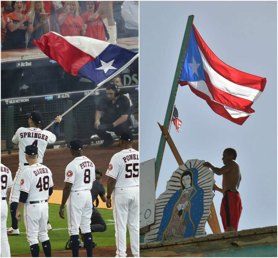 A Boston sportswriter confused the Puerto Rico flag (right) with the Texas flag (left). We know that our readers didn't need those identifiers, but we wanted to be helpful for our non-Texan readers. Photo: Houston Chronicle