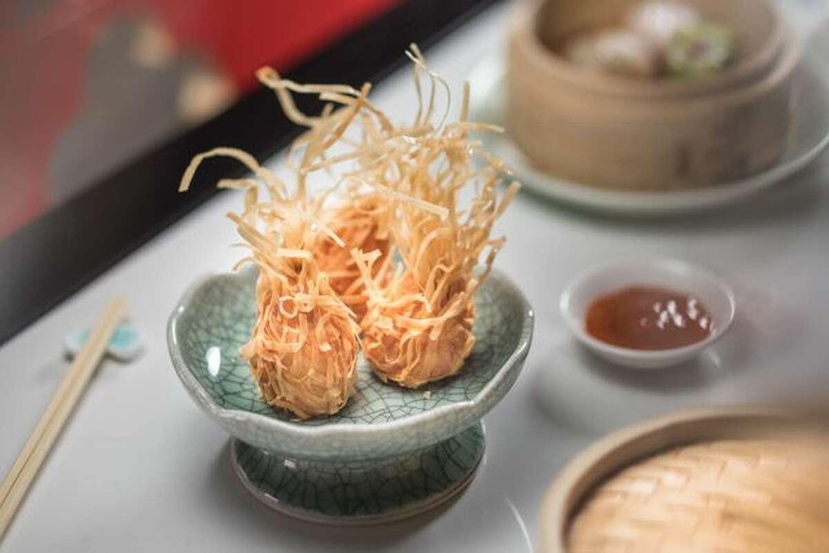 Crispy prawn dumplings atYauatcha's new happy hour.