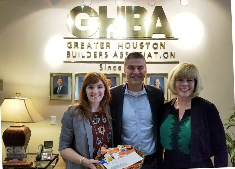 From left are Casey Morgan, vice president and CEO of GHBA; Jon Luther, executive officer of The Home Builders Association of Greater New Orleans; and Bette Moser, executive director of HomeAid Houston with the check from the HBA Greater New Orleans.