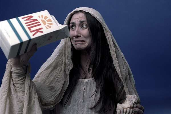 "Likely not who he encountered. An actress portraying the Hispanic legend of ""La Llorona,"" Spanish for The Weeping Woman, is shown in a photograph from an advertising campaign to be used by the California milk producers. No, definitely not who he saw."
