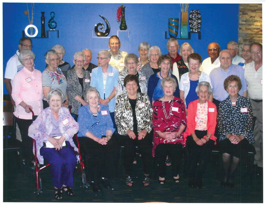 """The Edwardsville High School Class of 1952 conducted its 65th reunion at Bella Milano on Sept. 23. In front are: Mimi Kohlburn, Janet Price, Vera Ziegler, Carol Marti, Ann Delicate and Evelyn Sackett. In the middle row are: Rita Zika, Margie Love, Velma Wessel, Shirley Svoboda, Florence Schmitt, Judy Barnsback, Bev Scheibal, Dean Pletcher and Darrell Arth. In back are: Glenn Burlingame, """"Butch"""" Voyles, Ray Perry, Bill Lanham, Louise Leitner, Helenn Hulsker, """"Mike"""" Meikamp, Joanne Kriege, Carl Jason, Jim Christe and """"Jinx"""" Drda. Photo: For The Intelligencer"""