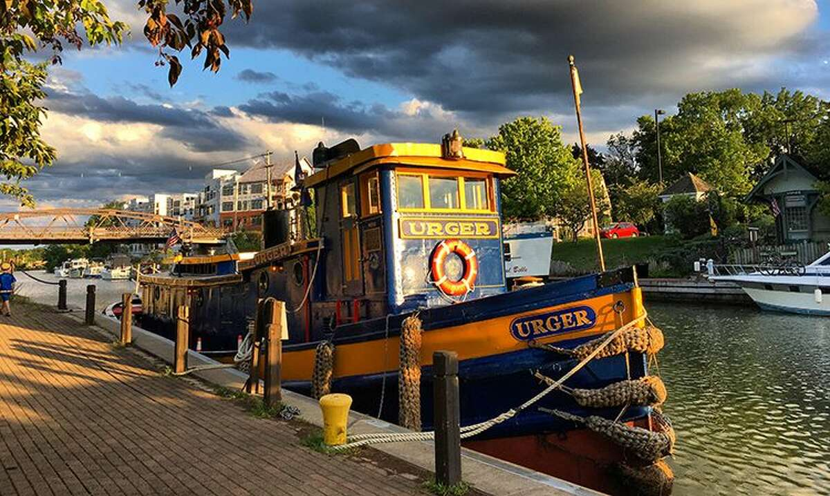 Tugboat at Sunset, Fairport, by Kathy Polino, Fairport, first-place winner, Classic Canal category, in the Erie Canalway National Heritage Corridor's 12th Annual Erie Canalway Photo Contest.