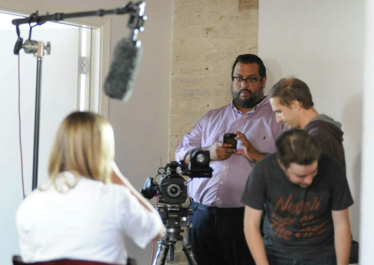 Joel Rivas directs a commercial promoting Saint City Culinary Foundation in 2017.