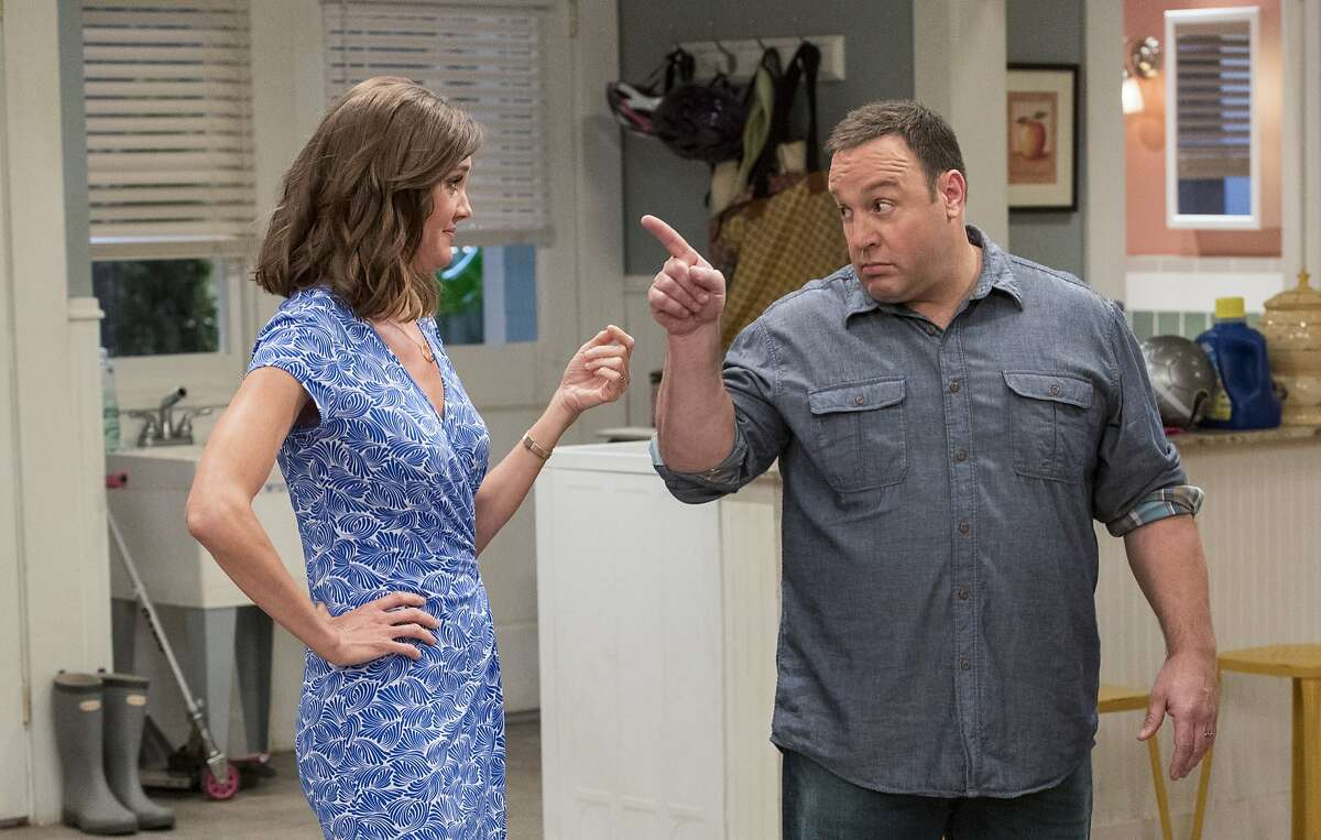 Kevin James, right, and Erinn Hayes, star in the CBS sitcom