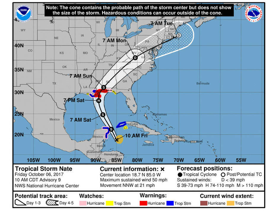 As Tropical Storm Nate makes its way to the Louisiana-Mississippi area, take a look at these maps to see what these cities can expect from the storm.Photo: NOAA Screen Shots Photo: National Hurricane Center