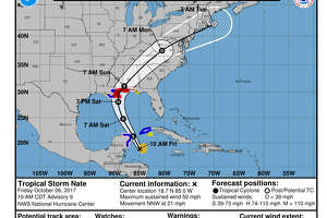 As Tropical Storm Nate makes its way to the Louisiana-Mississippi area, take a look at these maps to see what these cities can expect from the storm.  Photo:  NOAA Screen Shots