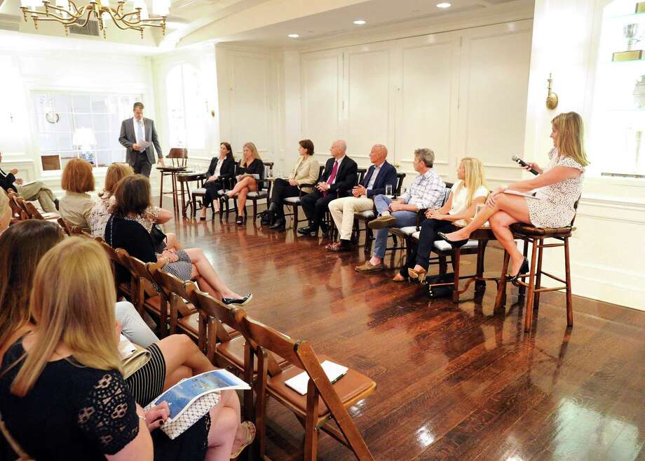 Executives of Fieldpoint Private lead a September 2017 real estate panel discussion in Greenwich, Conn. While Greenwich sales slipped in 2017, the town has seen significant activity in its upper-most luxury segment. Photo: Bob Luckey Jr. / Hearst Connecticut Media / Greenwich Time