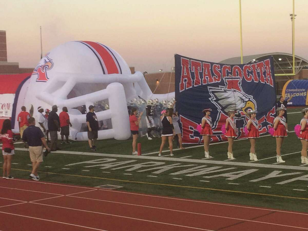 The Atascocita Eagles prepare to take the field for their game against the Channelview Falcons on Thursday night at Turner Stadium