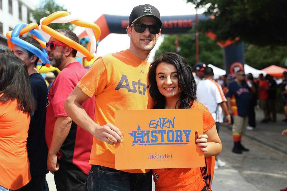 Fans arrive before the Houston Astros take on the Boston Red Sox in the second game of the American League Divisional Series at Minute Maid Park Friday, Oct. 6, 2017 in Houston. Photo: Michael Ciaglo, Houston Chronicle / Michael Ciaglo