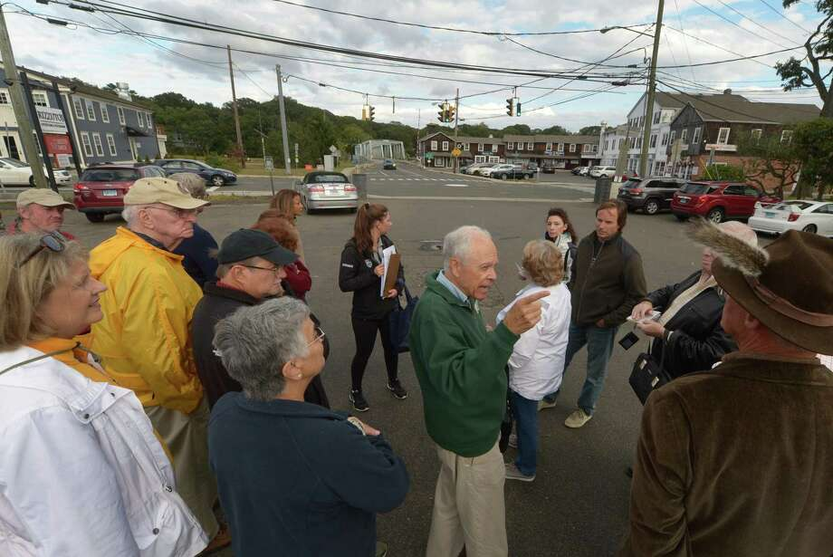 Bob Mitchell of the Westport Historical Society, center, leads the tour, Walk through Saugatuck History, Sept. 30. The tour was created to give participants insights into Westports history and show how resilient Westporters have been in retaining the character of our town, even as the landscape changes and Saugatuck undergoes an impressive renaissance. Photo: Erik Trautmann / Hearst Connecticut Media / Norwalk Hour