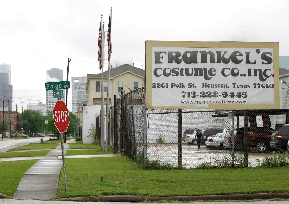 Frankel's Costume Co., which used to be surrounded by other warehouses, is now surrounded by new construction townhomes, near downtown, in the East End, Friday, April 10, 2015, in Houston. The East End has changed dramatically because prices have risen 85 percent in the last five years and 45 percent in just a year.