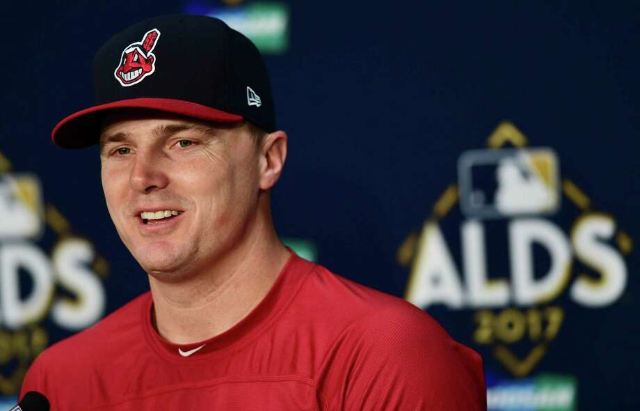 Cleveland Indians' Jay Bruce answers questions after Game 1 of baseball's American League Division Series between the New York Yankees and the Cleveland Indians, Thursday, Oct. 5, 2017, in Cleveland. The Indians won 4-0. (AP Photo/David Dermer) Photo: David Dermer, FRE / AP 2017