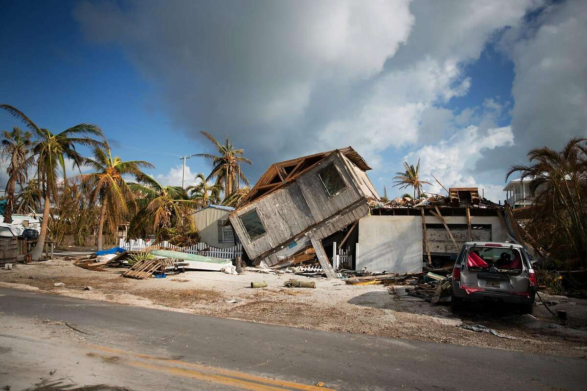 FILE -- Homes destroyed by Hurricane Irma in Big Pine Key, Fla., Sept. 14, 2017. The United States� nearly seven-year streak of job growth came to an end in September, as employers cut 33,000 jobs � a decline almost certainly tied to job losses stemming from Hurricanes Harvey and Irma. (Kevin Hagen/The New York Times)