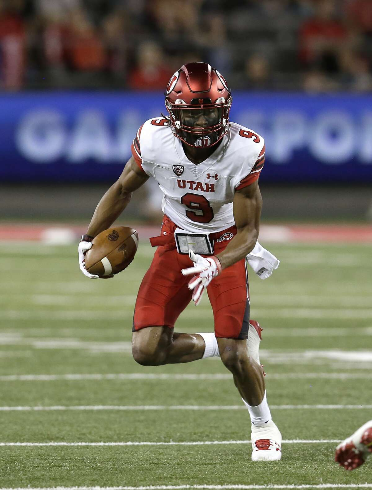 Utah wide receiver Darren Carrington II (9) in the second half during an NCAA college football game against Arizona, Friday, Sept. 22, 2017, in Tucson, Ariz. Utah defeated Arizona 30-24. (AP Photo/Rick Scuteri)