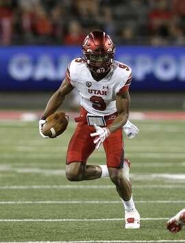 Utah wide receiver Darren Carrington II (9) in the second half during an NCAA college football game against Arizona, Friday, Sept. 22, 2017, in Tucson, Ariz. Utah defeated Arizona 30-24. (AP Photo/Rick Scuteri)