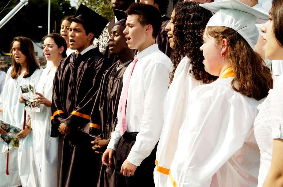 The SHS Concert Choir and Madrigal Singers perform during Stamford High Graduation. The class of 2010 graduates from Stamford High School on Thursday June 24, 2010 in Stamford, Conn. Photo: Dru Nadler / Stamford Advocate