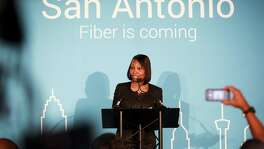 Mayor Ivy Taylor announces the Google Fiber launch during a press conference held Aug. 5, 2015 at Geekdom. It has now arrived, though the city and company are mum on the next area served.