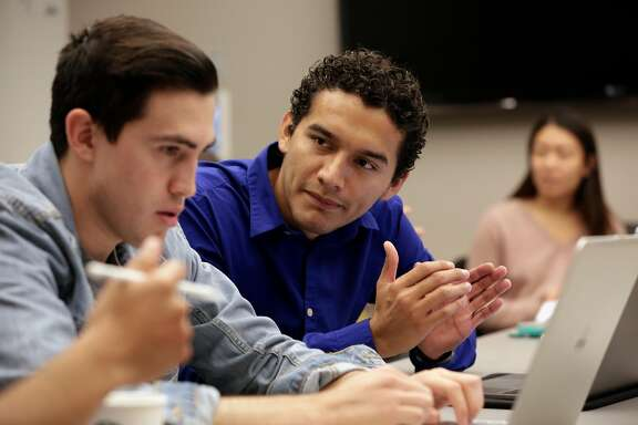 Medical students James Ruiz, (left) and  Juan Vasquez during a group discussion with fellow students as they apply treatments to different medical scenarios at the UCSF medical center in San Francisco, Ca., on Thurs. Oct. 5, 2017. As Congress works toward a DACA deal, the uncertainty over the future of the program is putting the careers of many health care workers in jeopardy, including medical, nursing, pharmacy students and medical technicians-in-training.