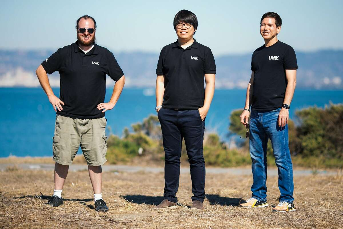The Uvify team, Trevor Christensen, Drone Pilot, Hyon Lim, Chief Executive Officer, and Robert Cheek, Head of Business Development, photographed in San Francisco, Calif. Thursday, October 5, 2017.
