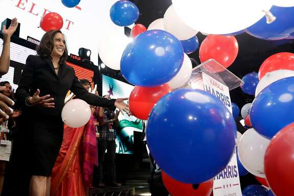 Democratic U.S. Senate candidate, Attorney General Kamala Harris greets supporters at a election night rally Tuesday, Nov. 8, 2016 in Los Angeles. (AP Photo/Chris Carlson)