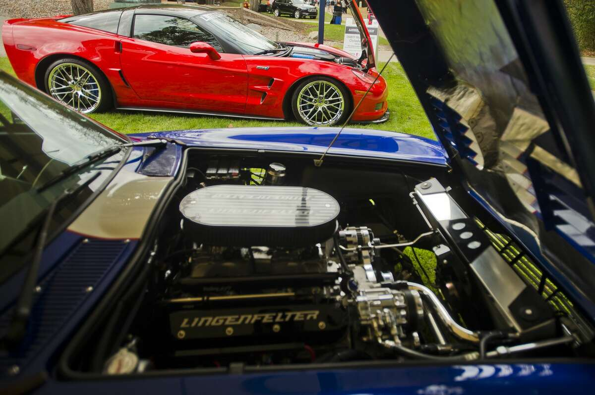 A Lingenfelter Corvette ZR1, top, and a Lingenfelter Superformance Grand Sport Corvette, bottom, are displayed during the Northwood University International Auto Show on Friday, Oct. 6, 2017. (Katy Kildee/kkildee@mdn.net)