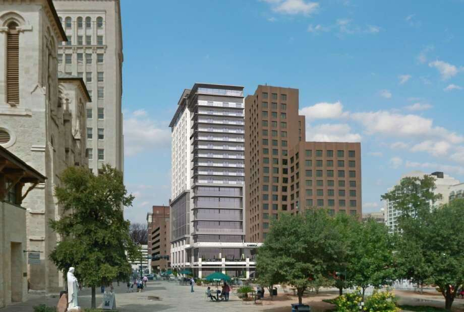 Local firm REM Hospitality plans to build a roughly $45 million tower on Main Plaza with 45,000 square feet of office space and 184 rooms from the boutique Cambria hotel brand. Photo: Historic And Design Review Commission