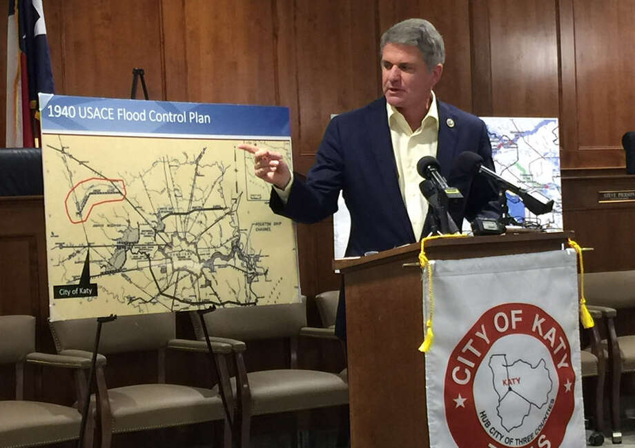 U.S. Rep. Mike McCaul, (R-Texas) showing an area for a proposed Cypress Creek reservoir.
