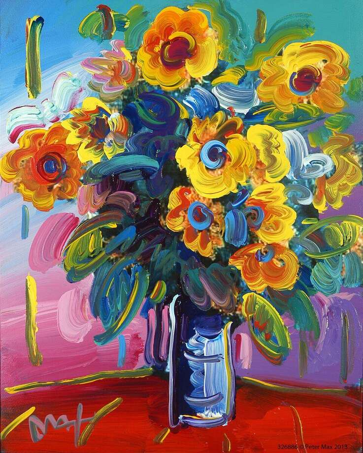 """Vase of Flowers"" is by pop artist Peter Max. His works will be on view Oct. 13-22 at the C. Parker Gallery in Greenwich, and the artist will be celebrated at two public events during the run. Photo: C. Parker Gallery / Contributed Photo"