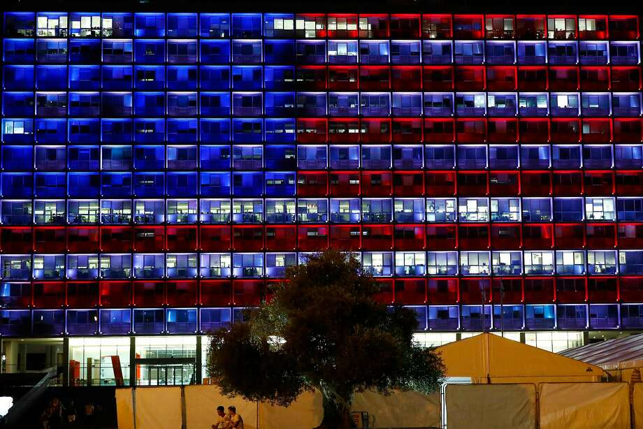 Tel Aviv city hall lit up in the colors of the American flag last week to honor the victims of the Las Vegas massacre. Photo: JACK GUEZ, AFP/Getty Images