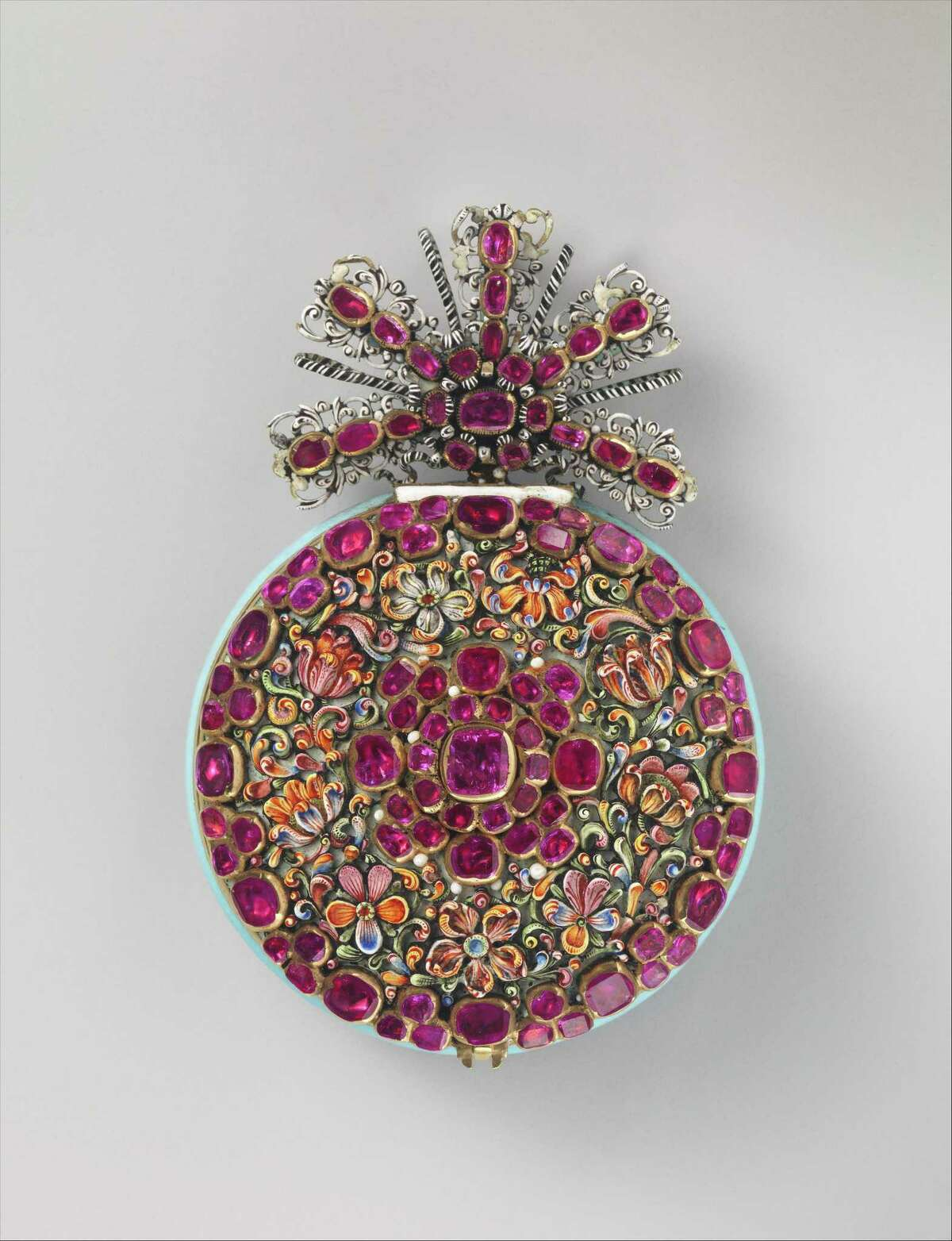 """""""The Great Ruby Watch,"""" about 1670, is from German watchmaker Nicolaus Rugendas the Younger. It's on loan from the Metropolitan Museum of Art to the Wadsworth Atheneum, in Hartford, as as example of gifts given to museums by J. Pierpont Morgan."""