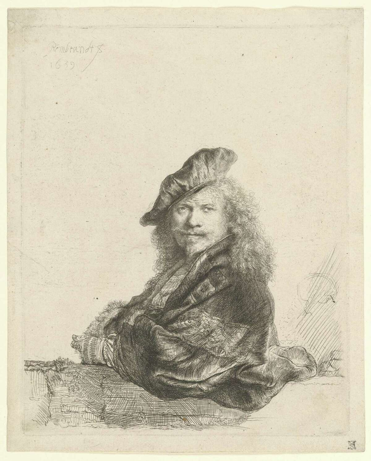 """Rembrandt's etching """"Self-Portrait Leaning on a Stone Sill"""" is from 1639. It is on loan from the Morgan Library & Museum in New York, to the Wadsworth Atheneum, in Hartford, as as example of gifts given to museums by J. Pierpont Morgan."""