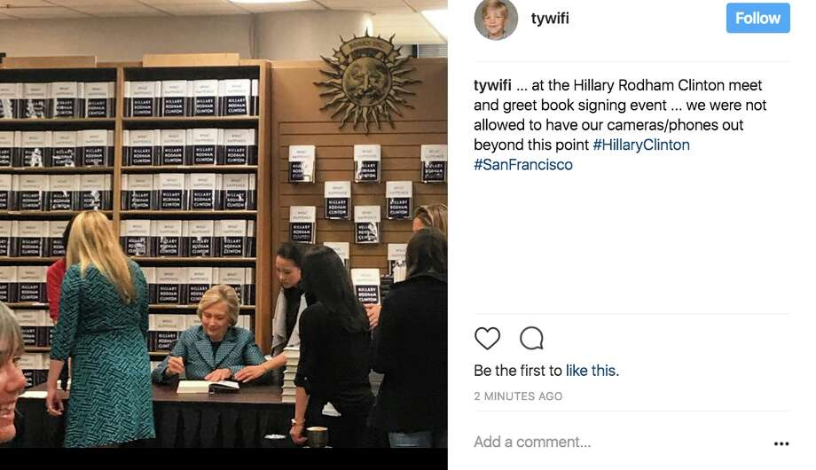 Fans and supporters waited in droves outside Book Inc. in San Francisco to get their copies of Hillary Clinton's book signed by the lady herself on Oct. 6. Photo: Instagram Screen Grab