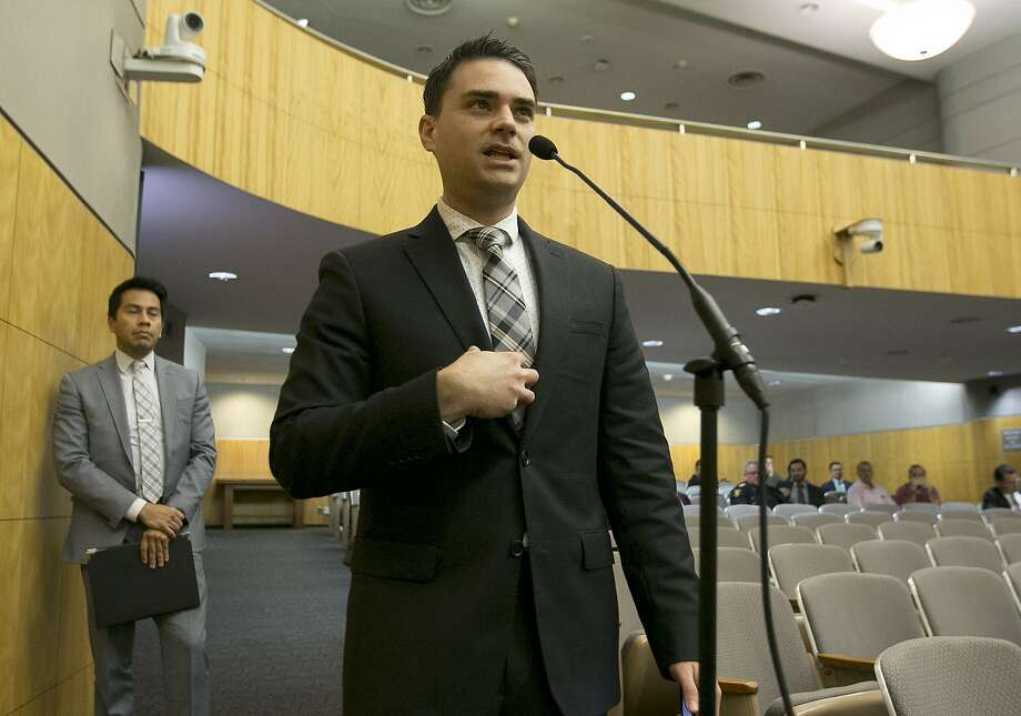 Conservative writer Ben Shapiro speaks during the first of several legislative hearings planned to discuss balancing free speech and public safety, Tuesday, Oct. 3, 2017, in Sacramento, Calif. Photo: Rich Pedroncelli, Associated Press