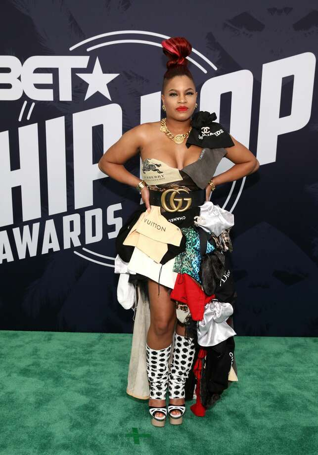 Best:Classic. Cherry Bomb wears an abstract of designer cloth bags.Keep clicking to see which celebrities were named best and worst dressed of the 2017 BET Hip Hop Awards. Photo: Bennett Raglin/Getty Images For BET