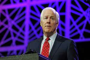 FILE PHOTO — Sen. John Cornyn (R-Texas) speaks during the Republican Party of Texas state convention on May 13, 2016, in Dallas. (Paul Moseley/Fort Worth Star-Telegram/TNS)