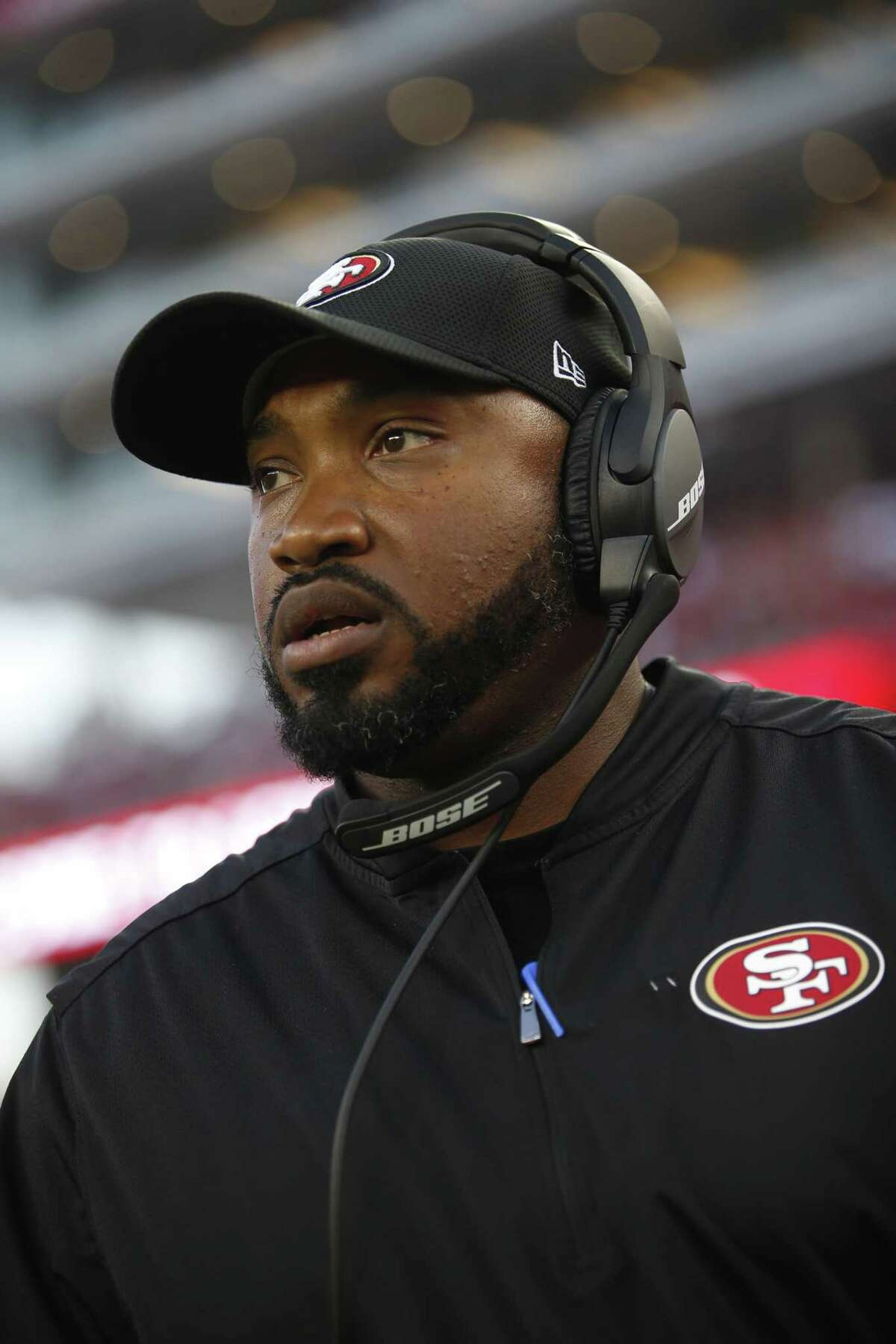 SANTA CLARA, CA - AUGUST 31: Special Teams Coordinator Richard Hightower of the San Francisco 49ers stands on the sideline prior to the game against the Los Angeles Chargers at Levi's Stadium on August 31, 2017 in Santa Clara, California. The 49ers defeated the Chargers 23-13. (Photo by Michael Zagaris/San Francisco 49ers/Getty Images)