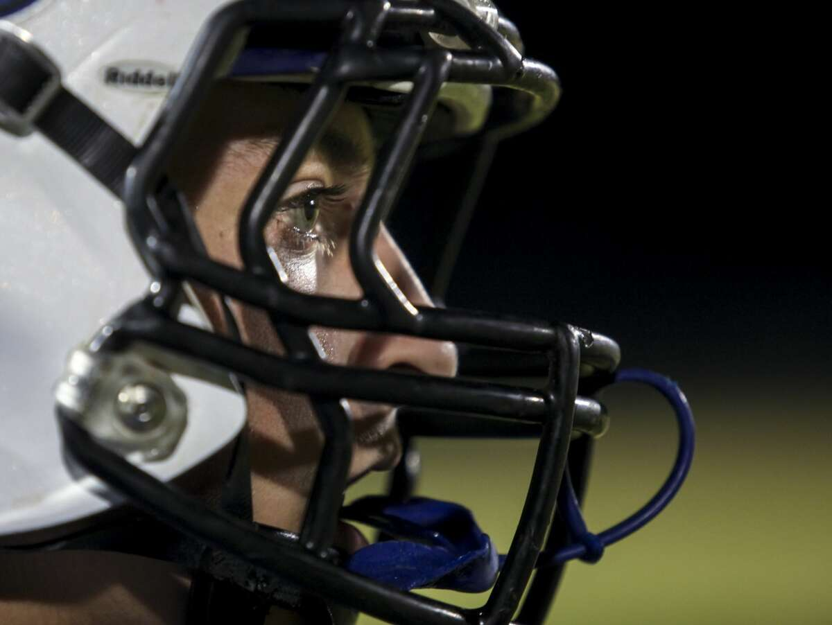 Coleman's Tyler Germain watches the action from the sidelines during Coleman High School's homecoming football game against Ashley High School Friday, Oct. 6, 2017. (Josie Norris/for the Daily News)