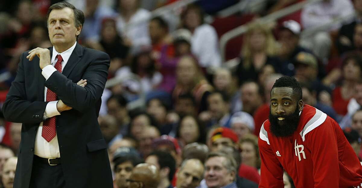 Houston Rockets head coach Kevin McHale left, and Rockets guard James Harden right, during the second quarter of NBA game action against the San Antonio Spurs at the Toyota Center Friday, April 10, 2015, in Houston. ( James Nielsen / Houston Chronicle )