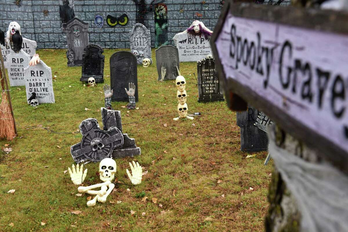 This Prescott Street home off Central Avenue is ready for Halloween on Friday, Oct, 6, 2017, in Colonie, N.Y. This year, Halloween falls on Tuesday October 31. (Will Waldron/Times Union)