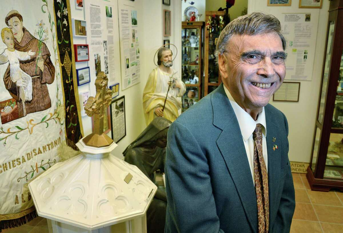 Prof. Philip DiNovo in the Faith of Our Ancestors room at the American Italian Heritage museum Thursday Oct.5, 2017 in Colonie, NY. (John Carl D'Annibale / Times Union)