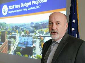 Mayor Patrick Madden presents Troy's proposed 2018 budget Friday Oct. 6, 2017 in Troy, NY.  (John Carl D'Annibale / Times Union)