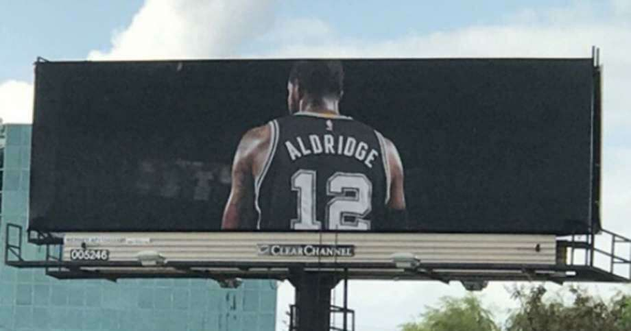 A billboard, located off Loop 410-Interstate 10 interchange and showing the Spurs' LaMarcus Aldridge in his jersey with his back turned, made headlines this week. Spurs Sports & Entertainment is aware of the billboard, but the team denied any involvement. Photo: Courtesy Photo / Twitter