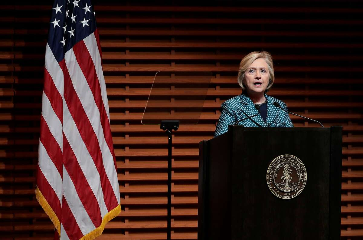 Former U.S. Secretary of State and 2016 Democratic presidential candidate Hillary Clinton, delivers a keynote speech before a conversation with Eileen Donahoe, executive director of the Global Digital Policy Incubator, as they discuss Digital Technology, Diplomacy, and Democratic Values, at Stanford University on Fri. October 6, 2017.
