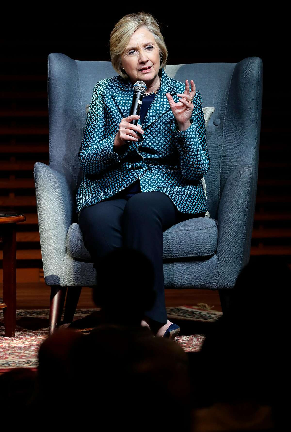 Former U.S. Secretary of State and 2016 Democratic presidential candidate Hillary Clinton, in conversation with Eileen Donahoe, executive director of the Global Digital Policy Incubator, as they discuss Digital Technology, Diplomacy, and Democratic Values, at Stanford University on Fri. October 6, 2017.