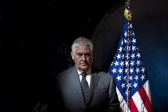 "Secretary of State Rex Tillerson arrives for the first meeting of the National Space Council first meeting at the Steven F. Udvar-Hazy Center, Thursday, Oct. 5, 2017 in Chantilly, Va. Tillerson has declared he never considered resigning as President Donald Trump's top diplomat, disputing what he called an ""erroneous"" report that he wanted to step down earlier this year.(AP Photo/Andrew Harnik)"