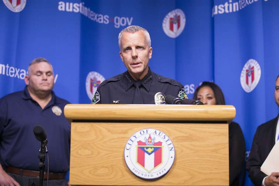 FILE PHOTO: Austin Police chief Brian Manley speaks about removing Police Ford Explorers  off the streets in 2017 over concerns of exhaust being dangerous to the public. Photo: Ricardo B. Brazziell, AP