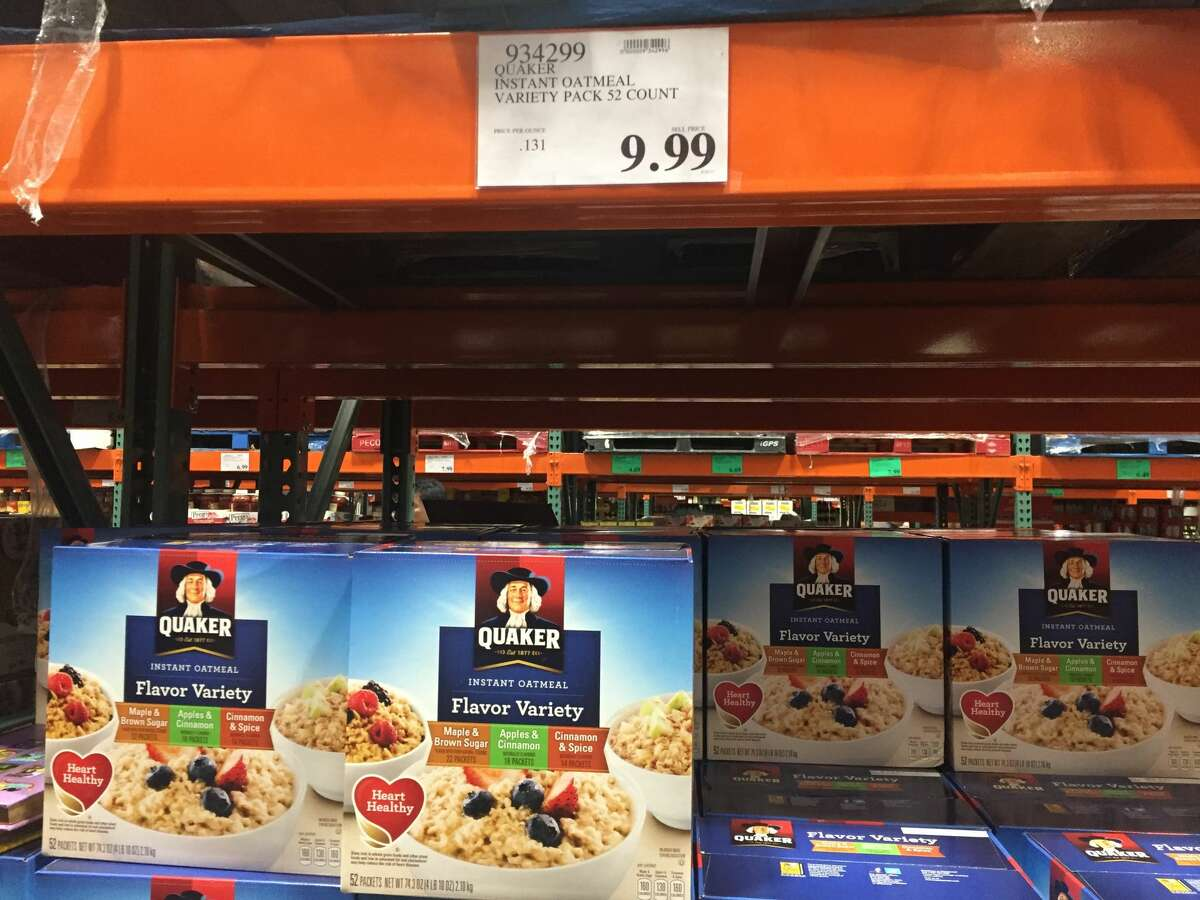 Quaker instant oatmeal, variety 52-pack In-store price:$9.99 CostcoGrocery price:$11.79 Net price increase: +18 percent