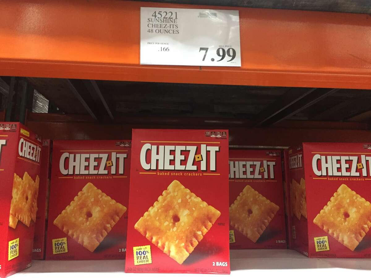 Cheez-It, 3 pounds In-store price:$7.99 CostcoGrocery price:$9.49 Net price increase: +18.8 percent