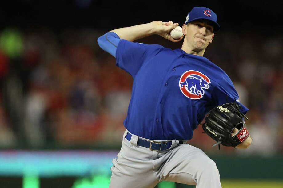 WASHINGTON, DC - OCTOBER 06: Kyle Hendricks #28 of the Chicago Cubs delivers a pitch against the Washington Nationals in the first inning during game one of the National League Division Series at Nationals Park on October 6, 2017 in Washington, DC. (Photo by Patrick Smith/Getty Images) ORG XMIT: 775053734 Photo: Patrick Smith / 2017 Getty Images